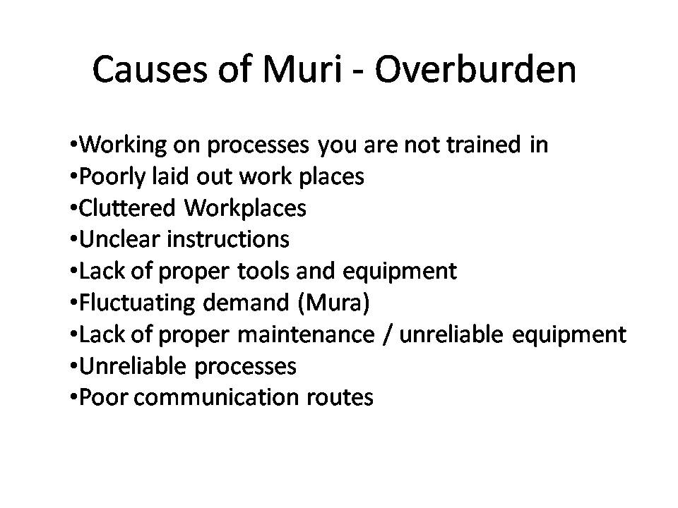 Muri Causes Lean Manufacturing Tools